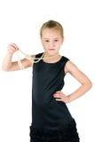 Mädchen mit einer Perlenschnur Stockbild