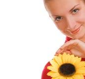 Mädchen mit einer Sonnenblume Stockfotos