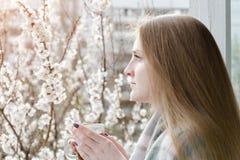 Mädchen mit einer Tasse Tee stehend am Fenster und an den Blicken in Lizenzfreies Stockbild