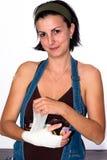 Mädchen mit einer verletzten Hand lizenzfreie stockfotos