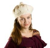 Mädchen mit einer warmen Schutzkappe Stockbilder