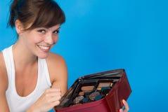 Mädchen mit einigen Bonbons Lizenzfreie Stockfotografie