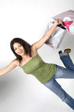 Mädchen mit Einkaufenbeuteln Stockbild