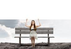 Mädchen mit Fahne Lizenzfreie Stockfotos