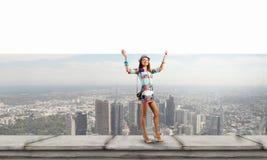 Mädchen mit Fahne Lizenzfreies Stockfoto