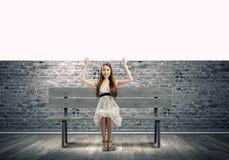 Mädchen mit Fahne Lizenzfreie Stockbilder
