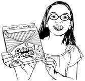 Mädchen mit farbigen Bleistiften in den Händen Lizenzfreies Stockbild