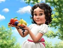 Mädchen mit Früchten Vektor Abbildung