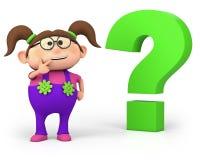 Mädchen mit Fragezeichen Stockbilder