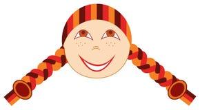 Mädchen mit Freckles und Zöpfen. Vektorabbildung Stockfoto