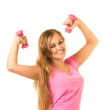 Mädchen mit freien Gewichten in der Gymnastik Stockfotos