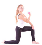 Mädchen mit freien Gewichten in der Gymnastik Lizenzfreies Stockbild