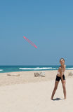 Mädchen mit Frisbee Lizenzfreies Stockbild