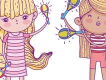 Mädchen mit Frisur und Spiel maracas Instrument vektor abbildung