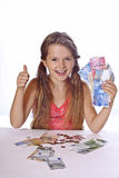 Mädchen mit Geld Lizenzfreies Stockfoto