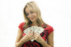 Mädchen mit Geld Lizenzfreie Stockbilder