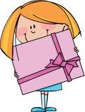 Mädchen mit Geschenk Stockbild