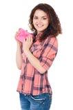 Mädchen mit Geschenkbox Lizenzfreie Stockfotos