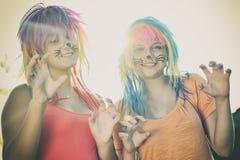 Mädchen mit Gesichtsmalerei Stockbild