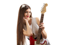 Mädchen mit Gitarre Stockfoto