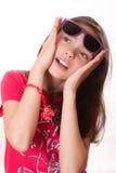 Mädchen mit Gläsern Lizenzfreie Stockbilder