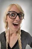 Mädchen mit Gläsern sieht wie als nerdy Mädchen, Stimmung aus Lizenzfreie Stockfotografie