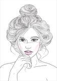 Mädchen mit Haarstrahlnstoß Stockbild