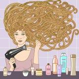 Mädchen mit hairdryer lizenzfreie abbildung