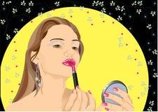 Mädchen mit hell-rosafarbenem Lippenstift. Stockfotos