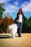 Mädchen mit Hund Stockfotografie