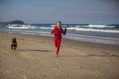 Mädchen mit Hund am Strand lizenzfreie stockbilder