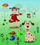 Mädchen mit ihrem Haustier-Hund und Vogel Stockfoto