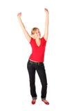 Mädchen mit ihren Armen angehoben Stockbilder