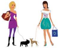 Mädchen mit ihren Hunden Lizenzfreie Stockfotografie