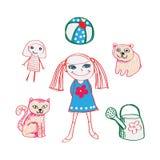 Mädchen mit ihren Spielwaren und Haustier Stockfotos