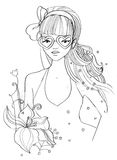 Mädchen mit Inner-geformten Brillen Lizenzfreie Stockfotos