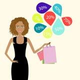 Mädchen mit Karten eines Rabattes Lizenzfreies Stockfoto