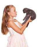 Mädchen mit Katze stockfotografie