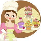 Mädchen mit kleinen Kuchen Stockbilder