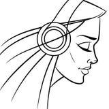 Mädchen mit Kopfhörern lizenzfreie abbildung