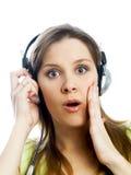 Mädchen mit Kopfhörern Stockbilder