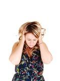 Mädchen mit Kopfschmerzen. Stockfotos