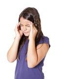 Mädchen mit Kopfschmerzen lizenzfreie stockfotos