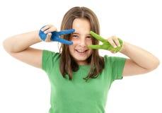 Mädchen mit Lack auf Händen lizenzfreie stockbilder