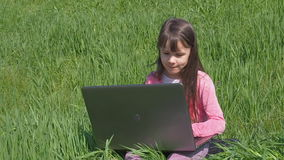 Mädchen mit Laptop auf grünem Gras Kleines Mädchen in der Natur Ein schönes Kind mit einem Laptop nimmt an einem Park teil stock video footage