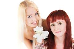 Mädchen mit Lilien stockbilder
