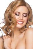 Mädchen mit Make-up und Frisur Stockbild