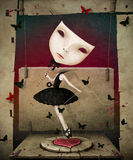 Mädchen mit Maske und Herzen Stockbild