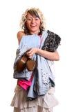 Mädchen mit neuer Kleidung stockbilder