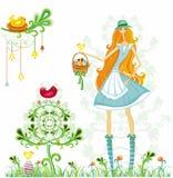 Mädchen mit Ostereiern und Vogel Lizenzfreie Stockbilder